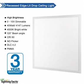 Allsmartlife 2x2 LED Panel Light Dimmable 4000K(Bright White), 0-10V 40W(140W Equivalent) - White Frame, 4147 Lumens, 100-277V - DLC-Qualified and Lighting Facts